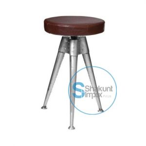 Aviation Metal Tripod Base Leather Swivel Seat Bar stool