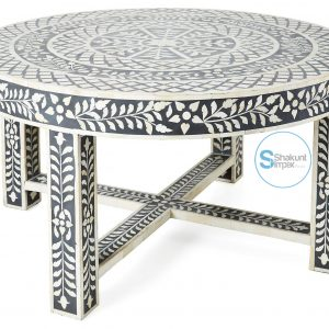 Bone Inlay Round Top Coffee Table