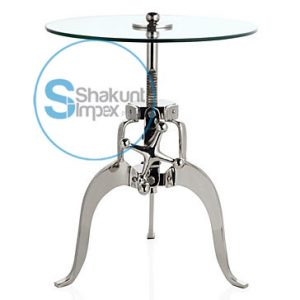 GLASS ROUND TOP ALUMINIUM CRANK TABLE