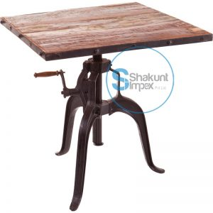 Industrial crank table with reclaimed wood top