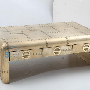 3 Drawers Brass Finish Aviator Coffee Table